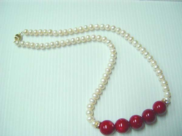 white pearl with red coral bead necklace