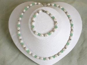 "16'/7.5"""" white freshwater Pearl&crystal Necklace set"