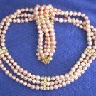 "Beautiful! 16"""" 3rows 5-6mm pink cultured FW Pearl Necklace and m"