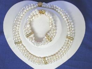 "Beautiful! 16"""" 3rows 5-6mm white Pearl Necklace set"
