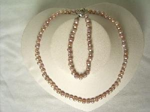 "Beautiful! 16"""" 5-6mm purple cultured FW pearl necklace&7"""" bracel"