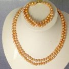 "Beautiful! 16""""-17"""" 6.4mm pink cultured FW pearl necklace&matchin"