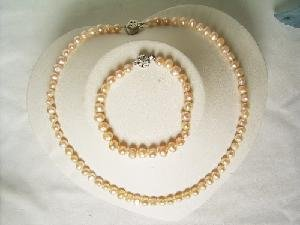 """Beautiful! 17"""""""" 5-6mm pink cultured FW pearl necklace&7"""""""" bracelet"""