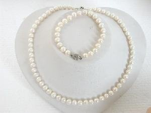 "Beautiful! 17"""" 7-8mm white round cultured FW pearl necklace&matc"