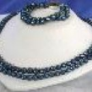 """Beautiful! 17""""""""-19"""""""" 2rows blue cultured freshwater pearl necklace"""