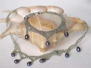 "Beautiful! 17.5"""" 18k black pearl Necklace& matching 8"""" bracelet"
