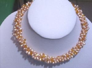 """16"""""""" 3 Rows pink freshwater pearl&yellow crystal necklace"""