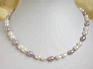 "16"""" rice-shape 5*6mm white purple FW pearl gild bead necklace"