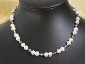 "16"""" white freshwater Pearl CRYSTAL GILD bead Necklace"