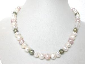 "17.5"""" 8-9mm white&purple&green cultured FW pearl necklace"