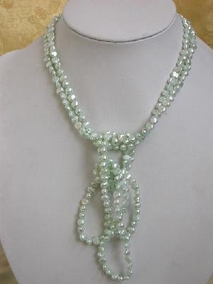 "64"""" grass green cultured freshwater pearl necklace"