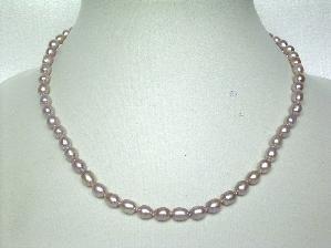 "AAAgrade!16""""purple rice shape FW pearl necklace"