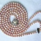 """Beautiful! 15""""""""-17"""""""" 3rows pink cultured FW pearl necklace"""