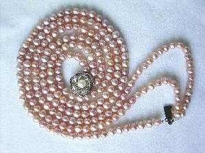 "Beautiful! 15""""-17"""" 3rows pink cultured FW pearl necklace"