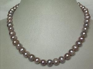 "Beautiful! 15.5"""" 7.5-8.5mm purple cultured FW pearl necklace&14k"
