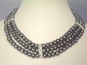 "Beautiful! 15.5""""-17.5"""" 3Rows peacock FW pearl necklace"