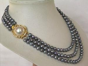 "Beautiful! 15.5""""-17.5"""" 3rows peacock cultured FW pearl necklace"
