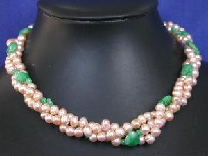 """Beautiful! 16"""""""" 3rows 5-6mm pink FW Pearl&green jade necklace"""