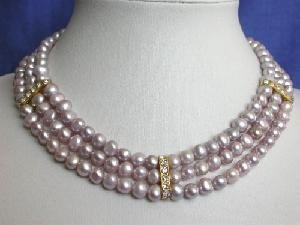 "Beautiful! 16"""" 3rows 5-6mm purple Pearl Necklace"