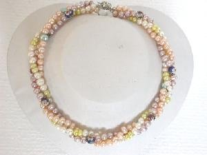 "Beautiful! 16"""" 3rows 5.5-6.5mm cultured FW Pearl&8.6mm cloisonne"