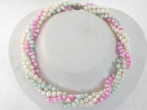 "Beautiful! 16"""" 4rows 4.5-5.5mm white purple green pearl necklace"