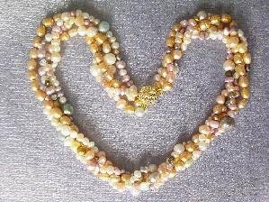 "Beautiful! 16"""" 4rows colorful cultured FW pearl necklace"