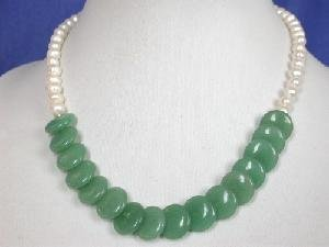 "Beautiful! 16"""" white freshwater pearl 14mm jade necklace"
