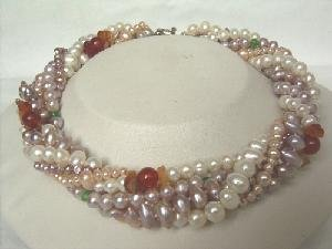 "Beautiful! 16"""" 6 rows multi-color freshwater pearl necklace"