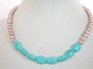 "Beautiful! 16"""" lavender FW pearl  blue turquoise necklace"
