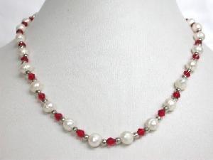 """Beautiful! 16"""""""" 6-6.5mm white cultured FW pearl&crystal Necklace"""