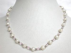 "Beautiful! 16"""" 6-6.5mm white cultured FW pearl&crystal Necklace"