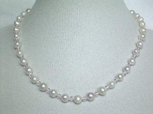 "Beautiful! 16"""" 7-7.5mm white FW pearl&pink crystal necklace"