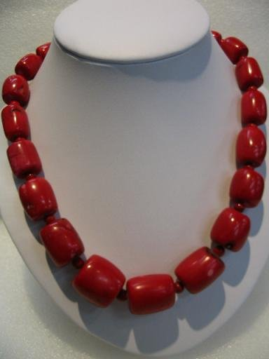 """20"""""""" large red coral necklace"""