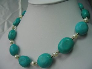 """18"""""""" exquisite pearl/turquoise necklace"""