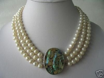 """18""""""""-20"""""""" 3-strands white pearl &Abalone shell clasp"""
