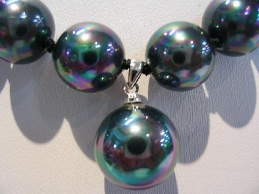 "18"""" Tahitain black shell pearl&pendant necklace"