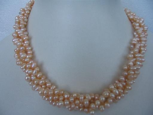 "68"""" natural F/W oval pink pearl necklace"