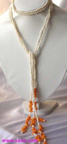 "48""""natural mini pearl coral necklace"