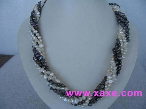 "exquisite 18"""" 5 strands multicolor pearl necklace"