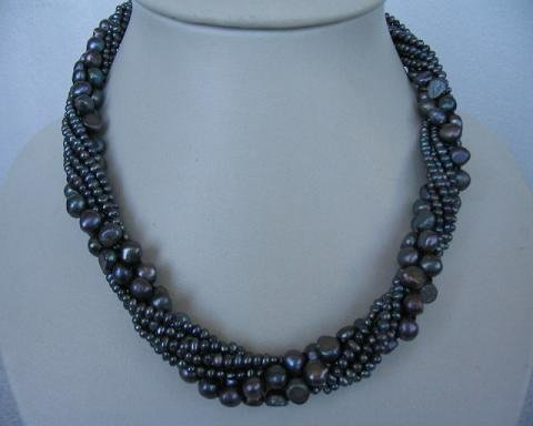 "18"""" 7 strands blue color pearl necklace"