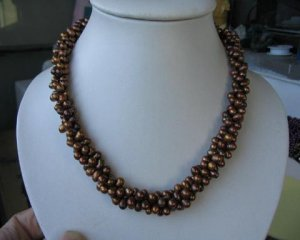 """17"""""""" 6*7mm 3 strands brown color F/W pearl necklace"""