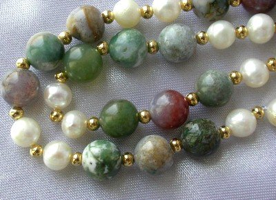 "17"""" multicolor jade & white pearl necklace"