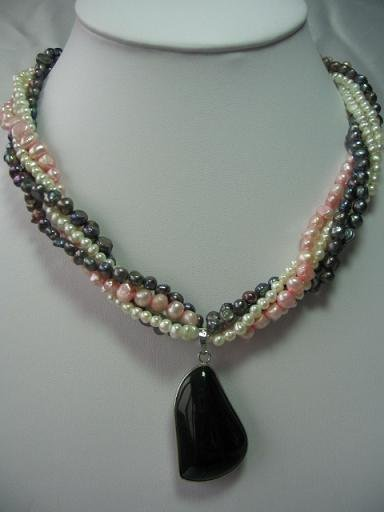 "18"""" 5 stands natural pearl&obsidian pendant necklace"