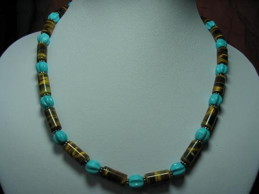 "17"""" turquoise watermelon and tiger-eye tube necklace"