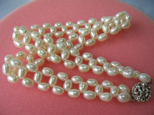 "15"""" hand made lover choker rice pearl necklace"