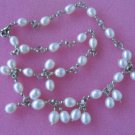 """17.5""""""""6*7mm white rice F/W pearl necklace"""