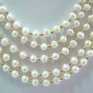 """17""""""""-21"""""""" five rows white pearl necklace"""