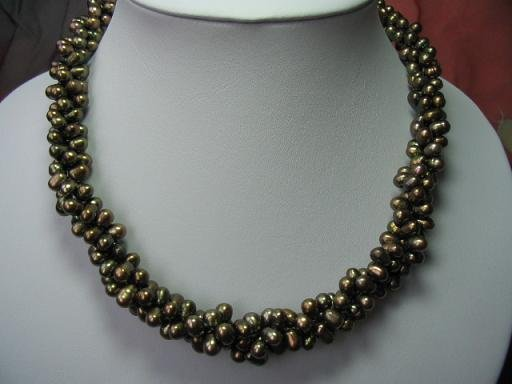 "17"""" 6*7mm 3 strands peacock  F/W pearl necklace"