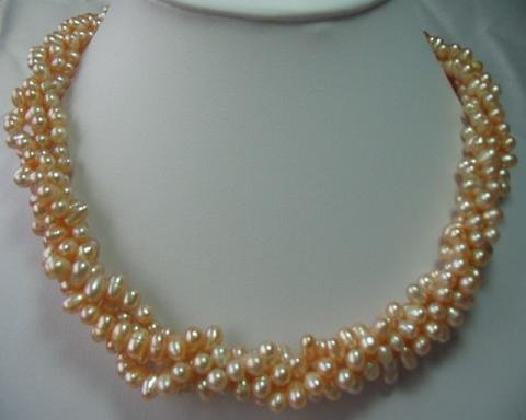 "17"""" 6*7mm 3 strands pink F/W pearl necklace"