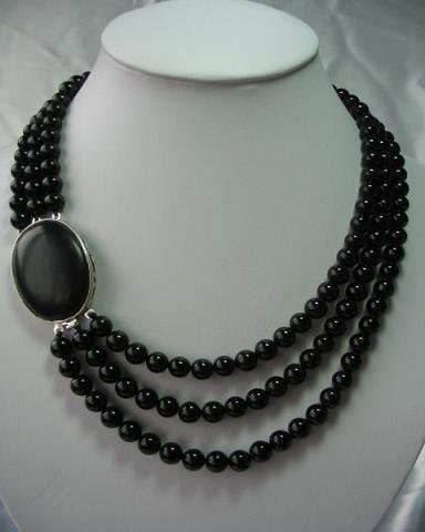 """18""""""""-20"""""""" 8mm 3-stands agate beadsl&agate clasp"""